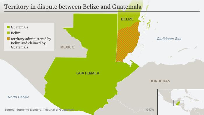 Infografik Karte Zwischen Guatemala und Belize umstittenes Gebiet ENG