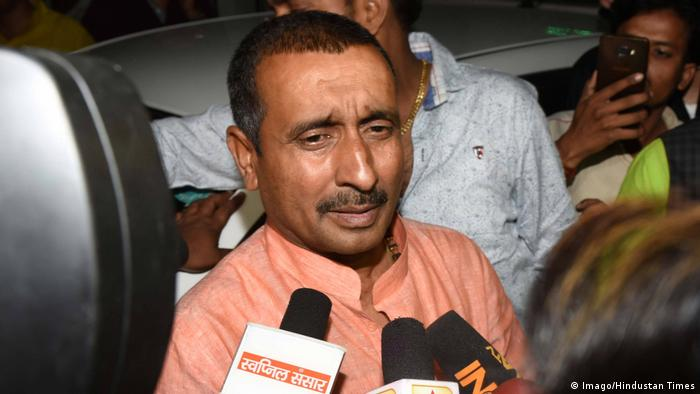 Kuldeep Singh Sengar, the main accused for allegedly raping a 17-year-old Dalit girl in Uttar Pradesh s Unnao, speaks to media personnel outside SSP office, on April 11, 2018