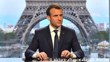 Frankreich Präsident Emmanuel Macron - Interview für RMC-BFMTV - Paris