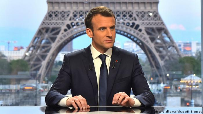 Emmanuel Macron - Interview für RMC-BFMTV - Paris (picture-alliance/abaca/E. Blondet)
