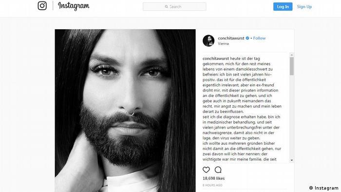 Screenshot of Conchita Wurst's HIV post on Instagram