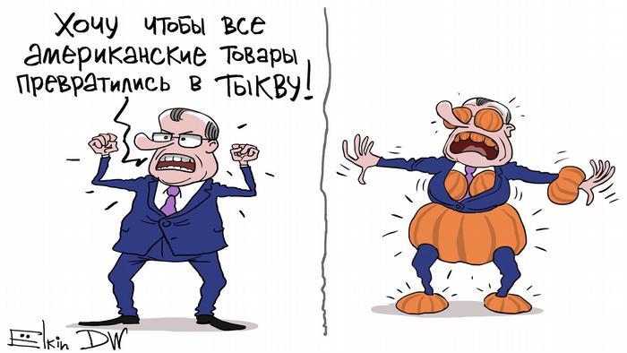 Карикатура Сергея Елкина на тему российский антисанкций в отношении США