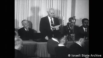 David Ben Gurion announcing Israel's independence (Israeli State Archive)