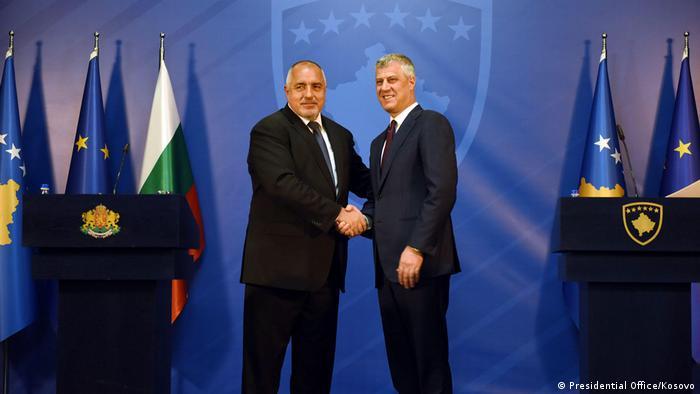 Prime-minister of Bullgaria Boyko Borissov meeting with the president of Kosovo Hashim Thaci. (Presidential Office/Kosovo)