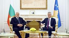 Prime-minister of Bullgaria Boyko Borissov meeting with the president of Kosovo Hashim Thaci.