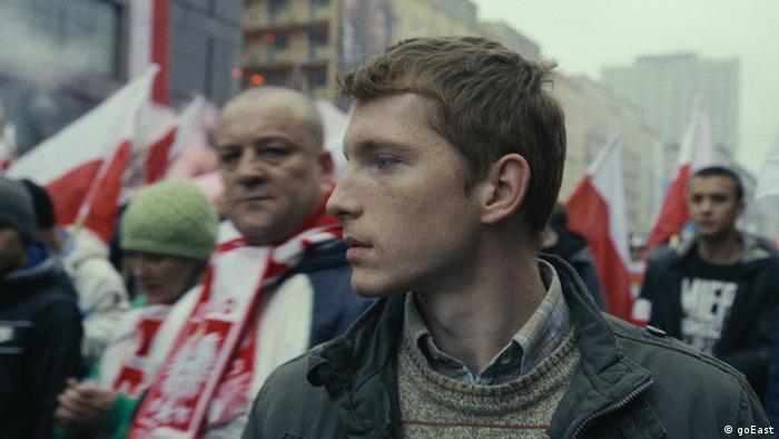 goEast Festival film Once Upon A Time in November shows a young man at a protest (goEast)
