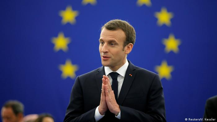 French President Emmanuel Macron at the European Parliament in Strasbourg