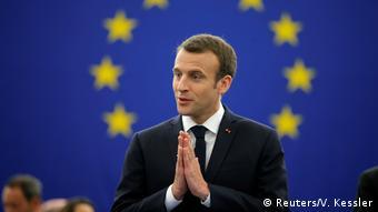 Macron brings palms together ahead of his speech (Reuters/V. Kessler)
