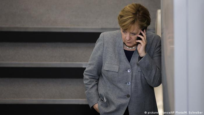 German Chancellor Angela Merkel on the telephone, October 24, 2017