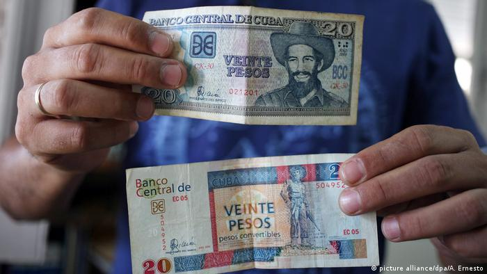 A man shows two bills of 20 pesos, one of Peso Cubano and other of Peso Convertible