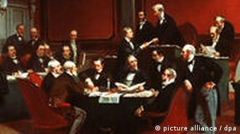 A painting of the signing of the original Geneva Convention in 1864