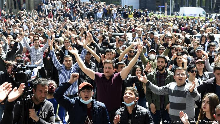 Protesters in Yerevan