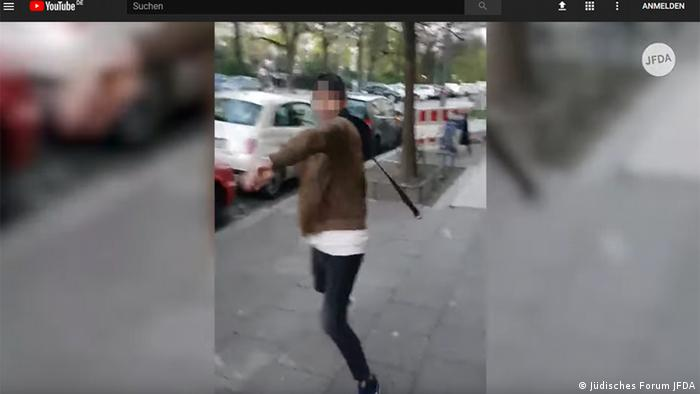 Screenshot Youtube Antisemitischer Angriff in Berlin (Jüdisches Forum JFDA)