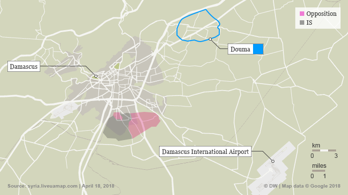 A map of Syria showing Douma