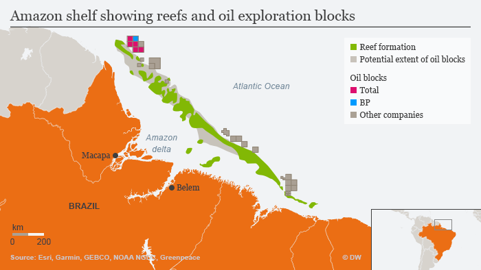 Infographic showing Amazon shelf reefs and oil exploration blocks