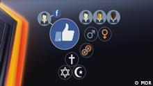 Grafik Facebook Persönlichkeitsprofil Fotograf: MDR Copyright: MDR Stichworte: Internet, Facebook, Daten, Persönlichkeitsprofile, Cambridge Analytica, Datenschutz, Shift Bilder aus der DW-Sendung SHIFT