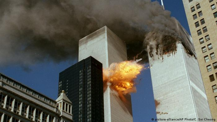 The Twin towers burning after two hijacked planes crashed into them on September 11, 2001.