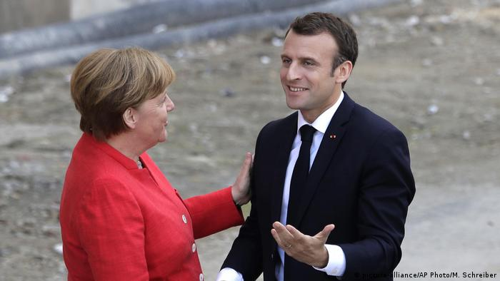 German chancellor, Angela Merkel, welcomes French President Emmanuel Macron to Berlin