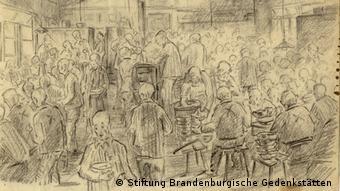 Υποτυπώδες συσσίτιο στο Ζάξενχαουζεν. Το σκίτσο φιλοτέχνησε ένας ολλανδός κρατούμενος.