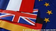 Flags of the European Union, France, Great Britain and Germany / Flaggen von der Europaeischen Union, Frankreich, Grossbritanien und Deutschland / Europaeische Union, Europäische Union | Verwendung weltweit