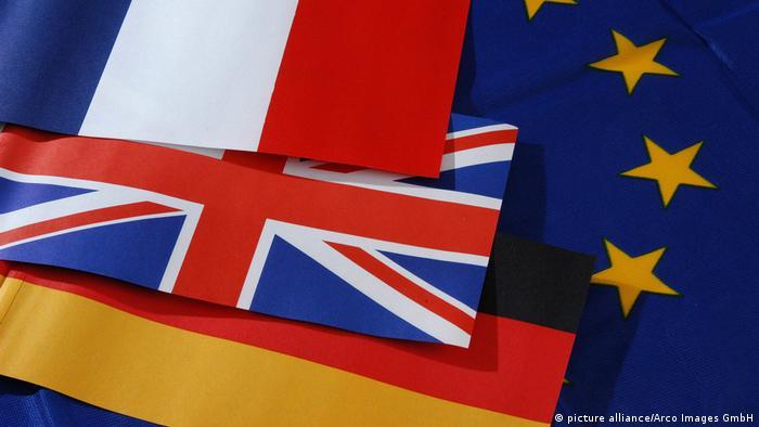 پرچمهای فرانسه، بریتانیا، آلمان و اتحادیه اروپا