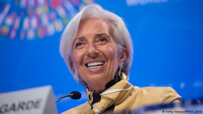 IMF Managing Director Christine Lagarde speaks at a press conference.