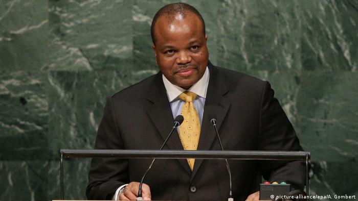 The King of Swaziland — now known as eSwatini — King Mswati III speaks at the United Nations General Assembly in New York in 2015.