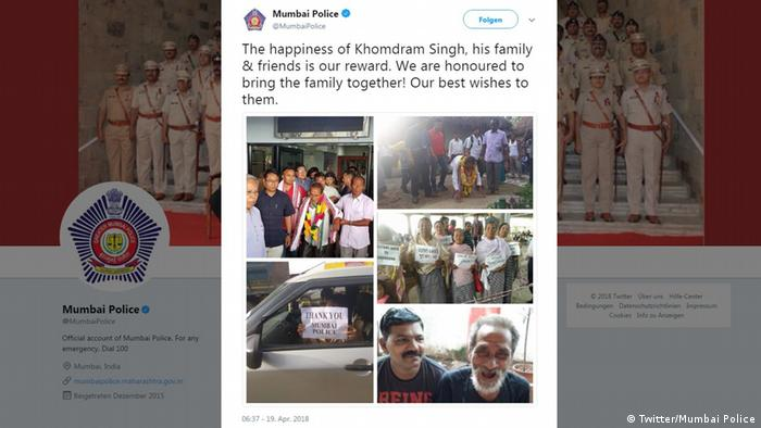 Screenshot of a tweet by Mumbair Police showing Gambhir reunited with his family
