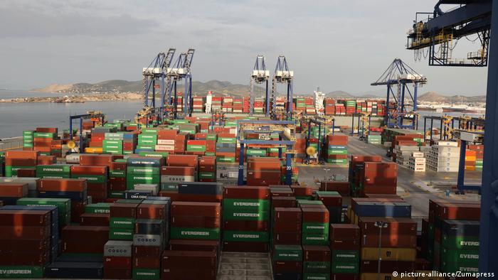 Container port in Piraeus, Greece