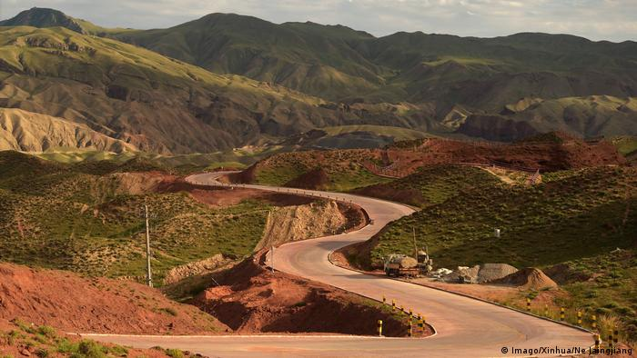 China's sprawling historical silk road framed by green hills