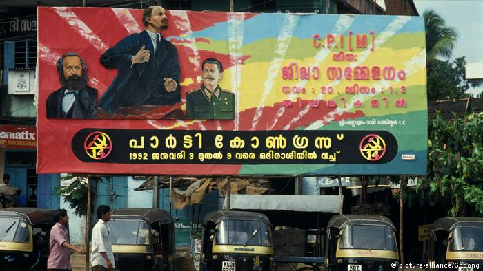 An Indian billboard poster features Marx alongside Lenin and Stalin (picture-alliance/Godong)