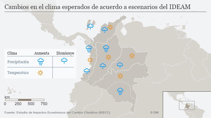 Infografik Karte Cambios en el clima esperados de acuerdo a escenarios del IDEAM SPA