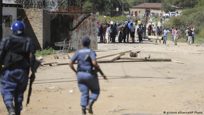 Proteste in Mahikeng, Südafrika (picture alliance/AP Photo)