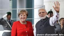 German Chancellor Angela Merkel and Indian Prime Minister Narendra Modi