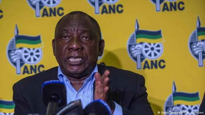 Cyril Ramaphosa gestures during a media address in April 2018