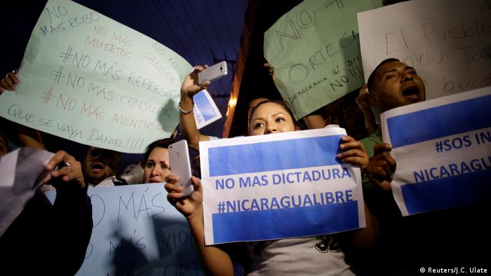 Nicaraguans living in Costa Rica rally in support of protests in their country