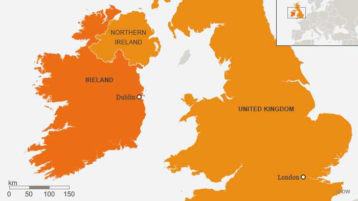 A map showing Ireland and Northern Ireland