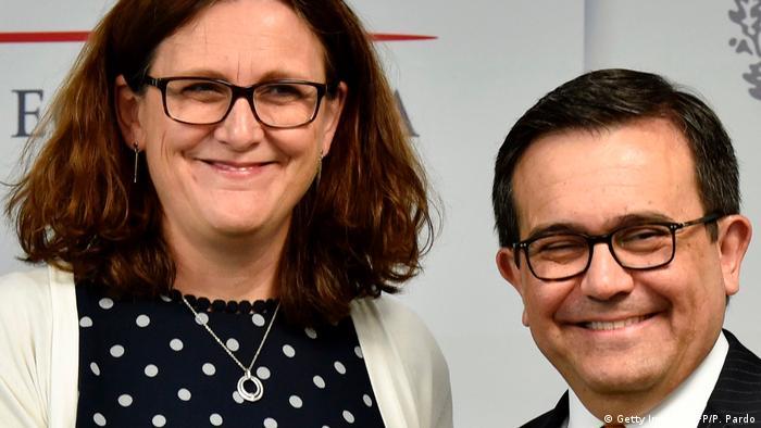 EU Trade Commissioner Cecilia Malmstrom with Mexican Economy Minister Ildefonso Guajardo