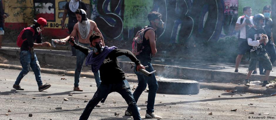 Manifestantes em Manágua: protestos se espalharam da capital para outras cidades