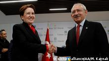 ANKARA, TURKEY - APRIL 12 : Kemal Kilicdaroglu (R), Chairman of the Republican People's Party (CHP) and the Leader of the IYI Party, Meral Aksener (L) shake hands following their meeting at IYI Party Headquarters in Ankara, Turkey on April 12, 2018. Murat Kaynak / Anadolu Agency   Keine Weitergabe an Wiederverkäufer.