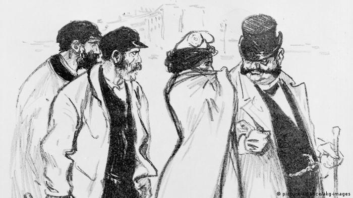 Th.A.Steinlen, Marianne u.Kapitalist - Th.A.Steinlen Zeichnung (picture-alliance/akg-images)