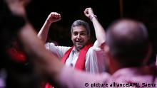Presidential candidate Mario Abdo Benitez, of the Colorado Party, celebrates during a campaign rally in Itagua Paraguay, Thursday, April 19, 2018. Known by his nickname Marito, the ruling party candidate is leading in the polls for the upcoming April 22 general elections. (AP Photo/Jorge Saenz) |