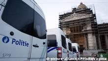 Police wagons are parked outside the Brussels justice palace during the trial of Salah Abdeslam and Soufiane Ayari in Brussels, Monday, April 23, 2018. The sole surviving suspect in the 2015 Paris extremist attacks who was once Europe's most wanted fugitive will hear his judgment in an attempted murder case on Monday. Salah Abdeslam's verdict will be heard for his involvement in a March 15, 2016, police shootout, four months after the Paris attacks that killed 130. (AP Photo/Virginia Mayo) |