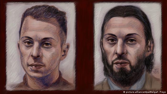 Зображення Салаха Абдеслама до арешту (ліворуч) та під час суду