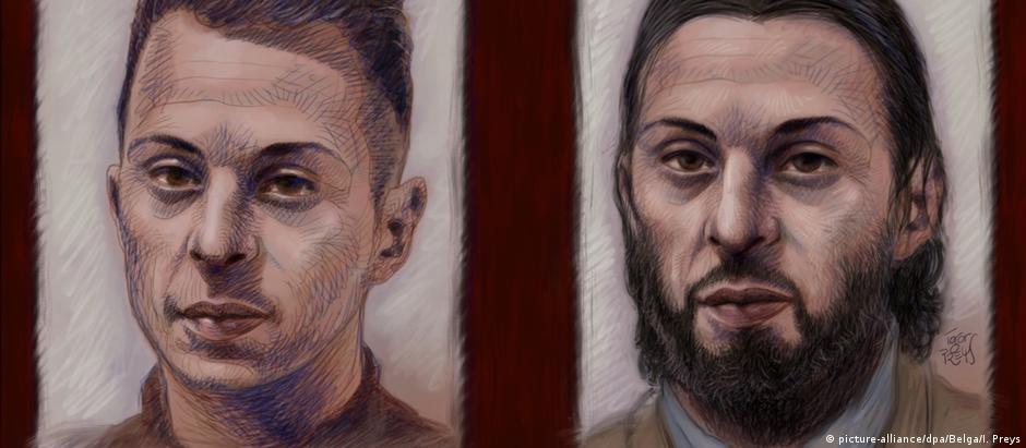 Retrato de Salah Abdeslam na época de sua captura (esq.) e durante o processo, numa ida ao tribunal em fevereiro de 2018