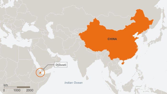 Map of China and Djibouti