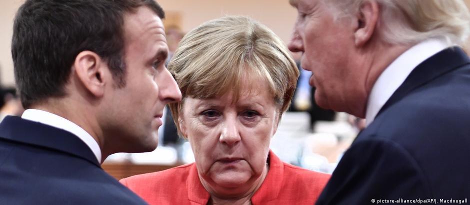Macron e Merkel com Trump o G20, em 2017: interesses são difíceis de conciliar