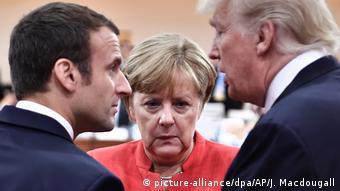 Эмманюэль Макрон, Ангела Меркель и Дональд Трамп (фото из архива)