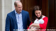 April 23, 2018 - London, London, UK - London, UK. The Duke and Duchess of Cambridge leave the Lindo Wing of St Mary's Hospital in west London with their new born baby son, the Prince of Cambridge. Their third son was safely delivered at 11:01 AM today, and weighed 8lbs 7oz. He is fifth in line to the throne  