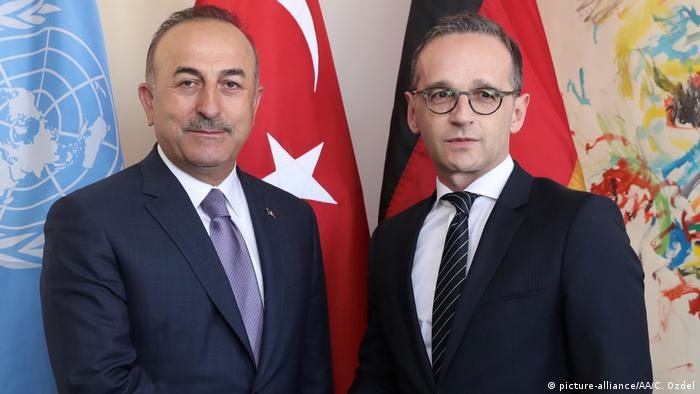 Foreign Ministers Heiko Maas of Germany and Mevlut Cavusoglu of Turkey in New York